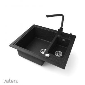 Gránit mosogató NERO Arriva + Design csaptelep + adagoló + dugókiemelő (fekete)