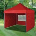 Kerti pavilon, összecsukható 3x3 m, piros oldalfalas, hordtáskával