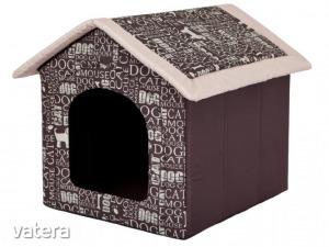 Szivacs kutyaház - feliratos, barna - 74x76x72cm