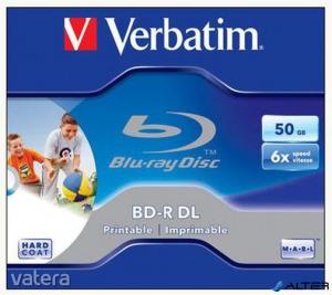 BD-R BluRay lemez, kétrétegű, nyomtatható, 50GB, 6x, 1 db, normál tok, VERBATIM
