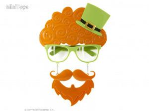 Szent patrik napi szemüveg hajjal, kalappal, bajusszal & szakállal