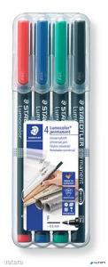 """Alkoholos marker készlet, OHP, 0,6 mm, STAEDTLER """"Lumocolor 318 F"""", 4 különböző szín"""
