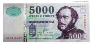 5000 Forint Bankjegy 2008 BA széria