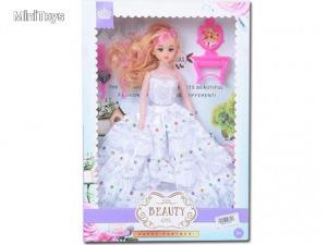 Hercegnő baba fehér ruhában 30cm