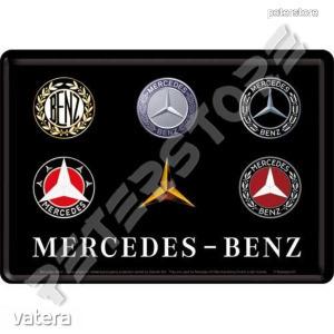 Retró Fém Képeslap - Mercedes-Benz Logók