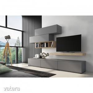 KORFU nappali szekrénysor (Nappali bútor, szürke/tölgy san)
