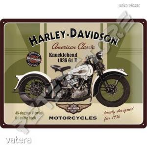 Retró Fém Tábla - Harley-Davidson 1936 61 E Knucklehead Motor Reklámtábla Dombornyomott