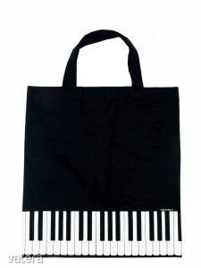 Zongorabillentyűs táska, fekete