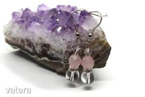 Rózsakvarc-Hegyikristály füli