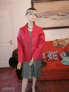 nagyon szép mutatós eredeti bőr kabát zakó dzseki 38 M  piros  82 mell 65 hossz őszi tavaszi Kép