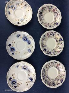 Zsolnay porcelán csésze aljak pótlásra --- 6 darab, de két különböző dekor 3+3 csésze alj!