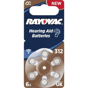 ZA312 hallókészülék elem, cink-levegő, 1,4V, 180 mAh, 6 db, Rayovac ZA312, PR41
