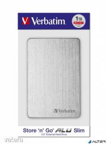 2,5' HDD (merevlemez), 1TB, USB 3.2, alumínium borítás, VERBATIM 'Store n Go', ezüst