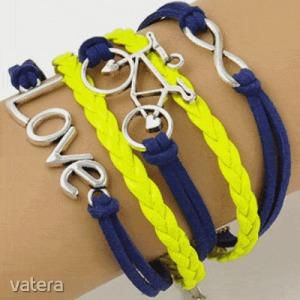 Infinity több soros karkötő - kerékpár - sárga/kék