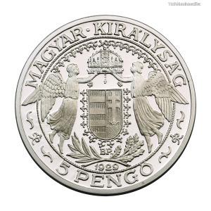Magyar Királyság Szent László 5 Pengő 1929 színezüst utánveret