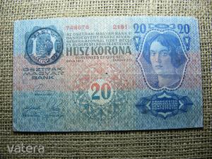 20 korona 1913 , Románia felülbélyegzéssel