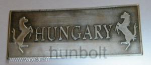Téglalap Hungary lovas ón matrica, 8 x 3,2 cm