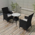 NONO Kerti bútor szett 5 darabos polyrattan Fekete