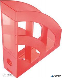 """Iratpapucs, műanyag, 78 mm, HELIT """"Economy"""", áttetsző piros"""