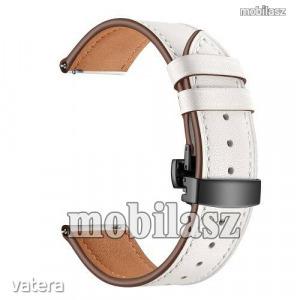 Valódi bőr okosóra szíj - speciális pillangó csatos, 120 + 80mm hosszú, 22mm széles - FEKETE / FE...