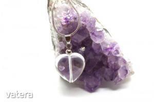 Hegyikristály fúrt szív medál