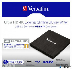 Blu-ray író, (külső meghajtó), 4K Ultra HD, USB 3.1 GEN 1 USB-C, VERBATIM 'Slimline'