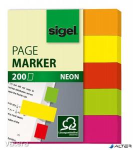 Jelölőcímke, papír, 5x40 lap, 12x50 mm, SIGEL 'Neon Mini', vegyes szín