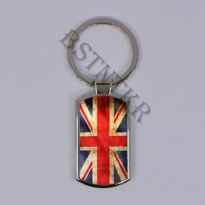 angol zászló mintás elegáns fém kulcstartó