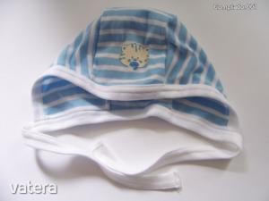 Nyári cicás sapka kék-fehér csíkos (74)