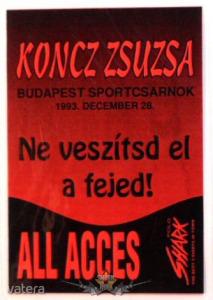 KONCZ ZSUZSA - NE VESZÍTSD EL A FEJED. BP SPORTCSARNOK. ALL ACCES. Stage pass. - 1999 Ft Kép