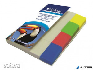 Jelölőcímke, műanyag, 4x40 lap, 20x50 mm, VICTORIA, vegyes szín