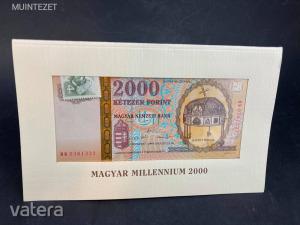 Magyar Millenium 2000 - Emlékbankjegy / 2000 Forint ---- díszcsomagolásban, bélyeggel, bontatlanul! Kép
