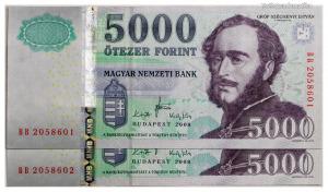5000 Forint Bankjegy 2008 BB széria XF+ sorszámkövető pár