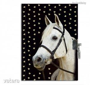 Lovas napló kulccsal 21*15 cm, fehér lóval