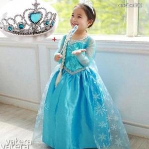 Elza, Elsa, Jégvarázs jelmez  S, M, méret + AJÁNDÉK . Hajfonat, jogar és korona ÚJ! Kép