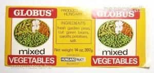 Régi magyar  konzerv címke  Globus  export !!