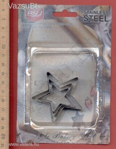 Csillag fondant, marcipán, sütemény fém kiszúró forma készlet (3 darabos)