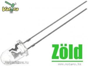 10db LED - Zöld, 5mm, 2180 mcd, 60°