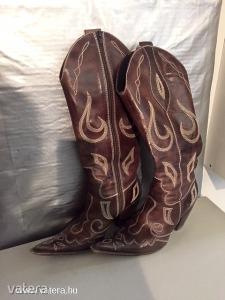 Valódibőr hímzett western csizma - női veszkó csizma - bőr talppal Méret: 36