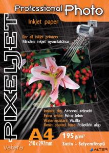 Pixeljet Tintasugaras fotópapír Professional Photo, szatin,, 195g, A4 210x297 mm, 10 lap