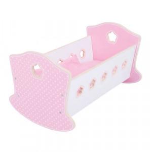Játék babaágy - baba bölcső ágyneművel - rózsaszín - BJ903