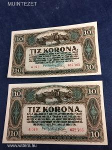 2 darab - Sorszám követő 10 Korona  --- Kettő darab makulátlan, ropogós sorszámkövető Korona