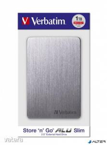 2,5' HDD (merevlemez), 1TB, USB 3.2, alumínium borítás, VERBATIM 'Store n Go', szürke
