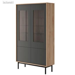 Vitrines szekrény, tölgy jasdbon hickory/grafit, BERGEN BW104