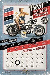 BEST GARAGE FOR MOTORCYCLE - Öröknaptár. fém képeslap