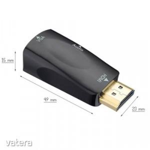 HDMI-ből VGA-ra átalakító - VGA monitorok üzemeltetéséhez - KÉSZLETRŐL!