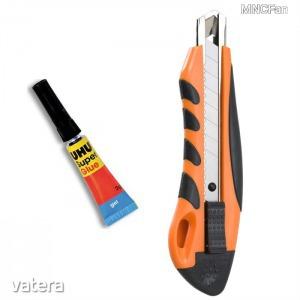 Tapétavágó utántölthető barkácskés 18mm sniccer szike kés + UHU Super Glue pillanatragasztó 2 g gél