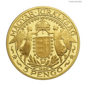 Magyar Királyság Szent László 5 Pengő 1929 színarany utánveret