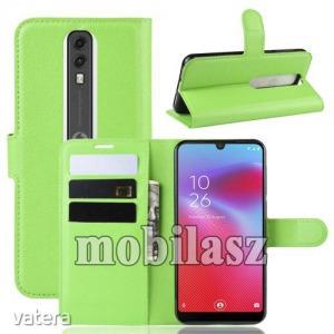 Vodafone Smart V10, Wallet notesz tok, Oldalra nyíló, Asztali tartó funkciós, Mágneses záródás, Zöld