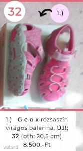 Geox rózsaszín virágos balerina, ÚJ! 32
